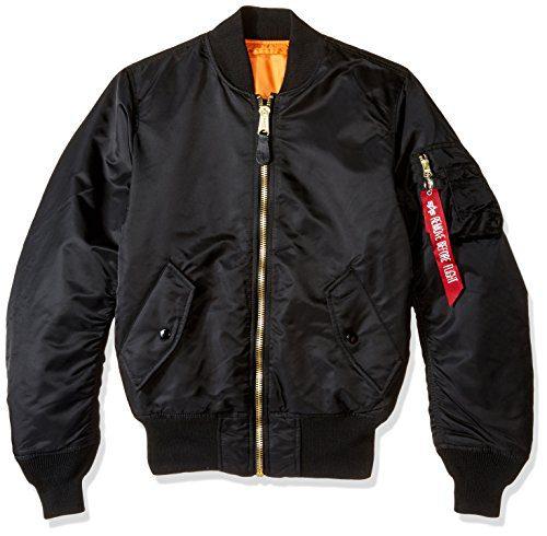 Alpha Industries Men's Bomber Flight Jacket, Black, XX-Small