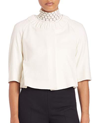 Akris Womens Ruched Wool-Blend Crop Jacket, 12 Cream