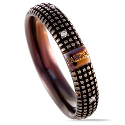 Damiani Metropolitan 18K Brown Gold 9 Diamonds Textured Band Ring