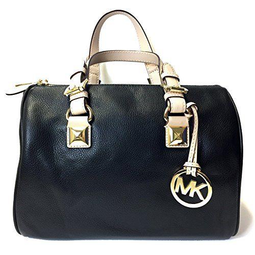 Michael Kors MD Grayson Leather Satchel Handbag (Black)