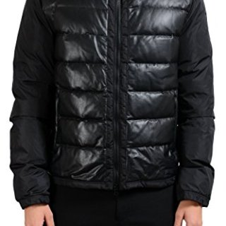 Gucci Men's Black Leather Full Zip Down Parka Jacket