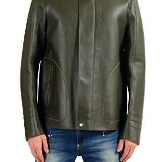 Gucci Men's 100% Leather Green Full Zip Jacket