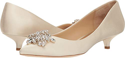 Badgley Mischka Women's Vail Pump, Ivory Satin, 10 M US
