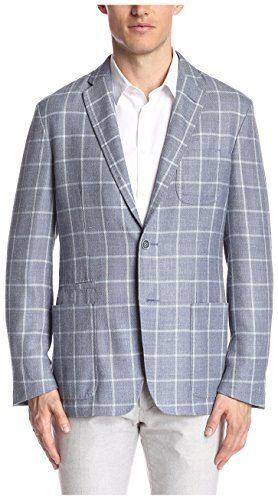 Corneliani Men's Windowpane Sportcoat, Blue, 52 EU