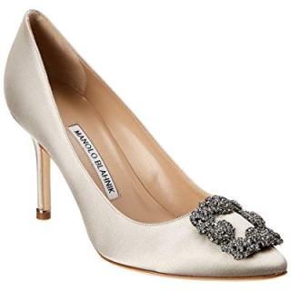 Manolo Blahnik Hangisi Satin Pump, 38.5, Grey