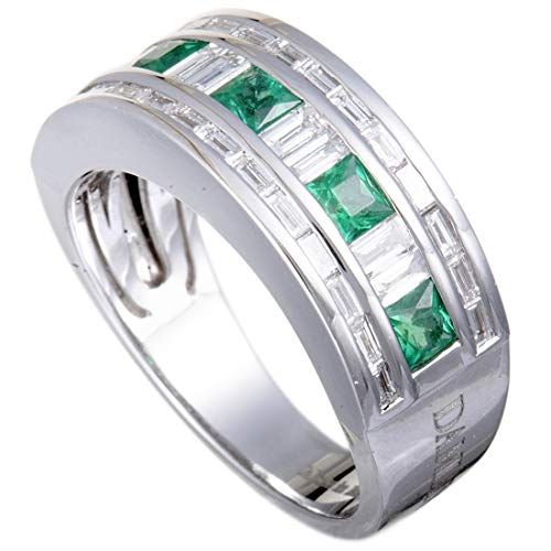 Damiani Belle Epoque 18K White Gold Diamond and Emerald Band Ring