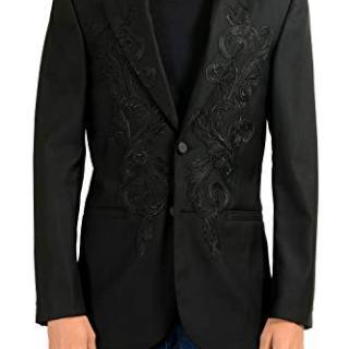Versace Men's 100% Wool Black Designed Two Button Blazer Sport Coat