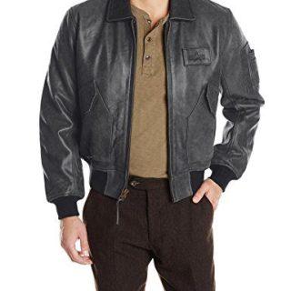 Alpha Industries Men's Leather Bomber Jacket, Black, Medium