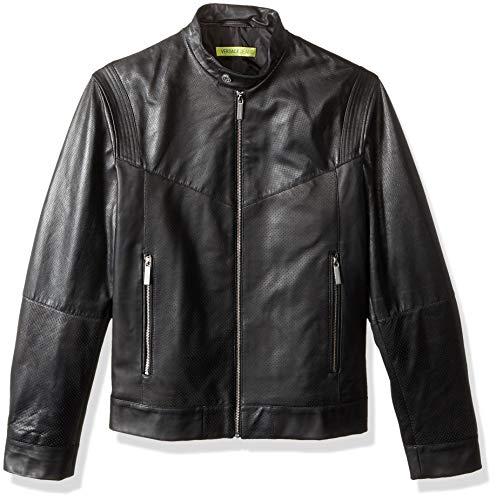 Versace Jeans Men's Leather Racer Jacket, Nero, 54