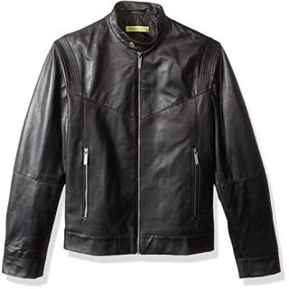 Versace Jeans Men's Leather Racer Jacket, Nero, 54