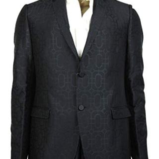 Gucci Men's Emerald Jacquard Dylan 60 Black Wool Silk 2 Buttons Jacket