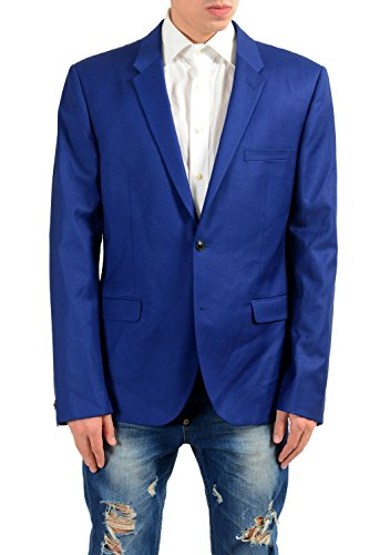 Versace Men's 100% Wool Blue Two Button Blazer Sport Coat