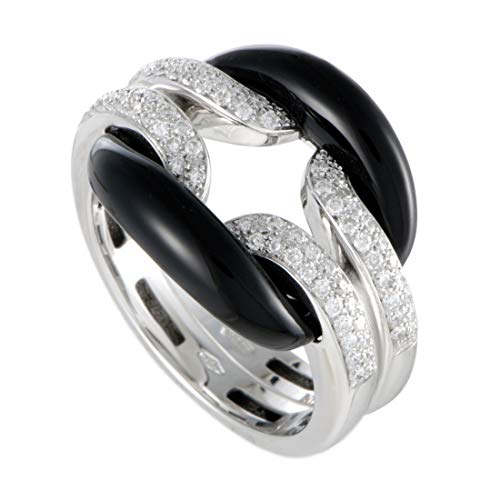 Damiani D.Lace 18K White Gold Diamond Pave and Onyx Cushion Ring