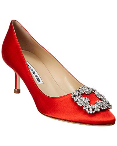 Manolo Blahnik Hangisi Satin Pump, 36, Red