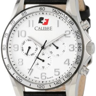 """Calibre Men's """"Buffalo"""" Stainless Steel and Leather Watch"""