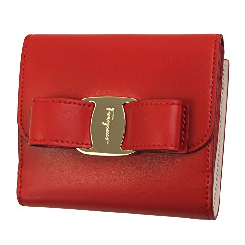 Salvatore Ferragamo Vara Red Leather bifold Wallet Lipstick