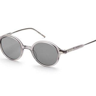 THOM BROWNE Satin Crystal Grey w/ Dark Grey-AR Sunglasses