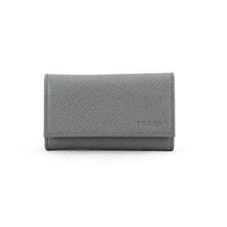 Prada Saffiano Leather Key Holder Wallet, Mercurio (Grey)