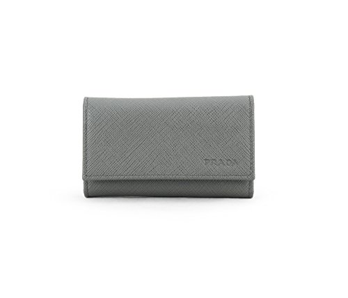 Prada Saffiano Leather Key Holder Wallet, Mercurio (Grey)