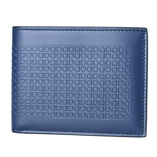 Salvatore Ferragamo 100% Leather Blue Women's Men's Bifold Wallet
