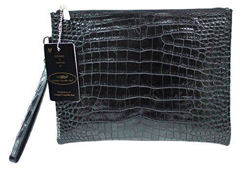 Authentic M Crocodile Skin Womens Belly Clutch Bag Purse