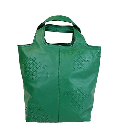 Bottega Veneta Woven Detail Green Leather Tote Bag