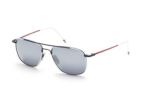 THOM BROWNE White-Navy-Red w/ Dark Grey-Silver Sunglasses