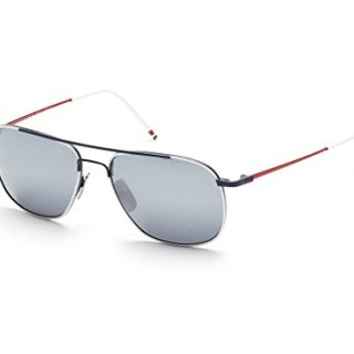 THOM BROWNE White-Navy-Red w/ Dark Grey-Silver Sunglasses