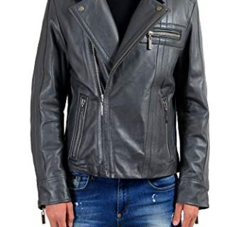 Versace Jeans Men's 100% Leather Gray Double Breasted Jacket US L IT 52