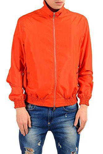 Versace Collection Men's Orange Full Zip Windbreaker Jacket
