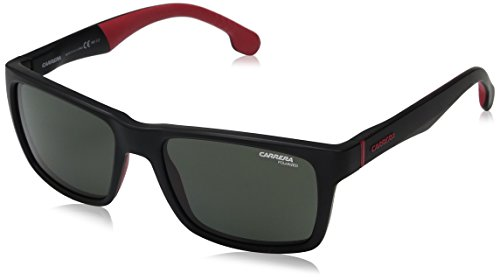 Carrera Men's Rectangular Sunglasses, Matte Black/Green Polarized, 55 mm