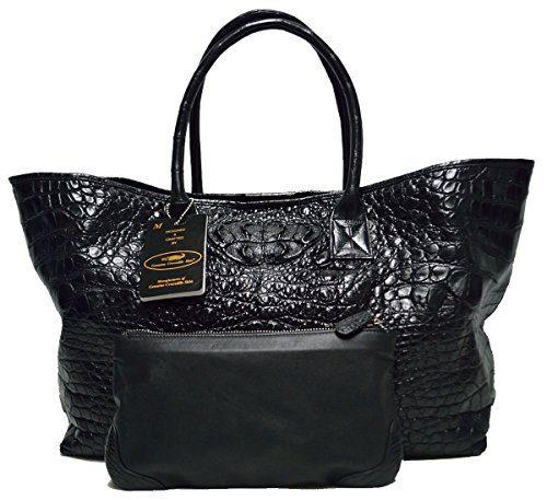 Authentic M Crocodile Skin Womens Bag Tote Hobo Large