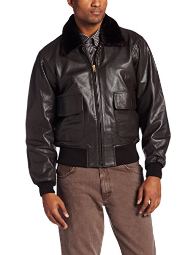 Alpha Industries Men's Leather Military Flight Jacket, Brown, XX-Large