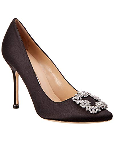 Manolo Blahnik Hangisi Satin Pump, 38.5, Black