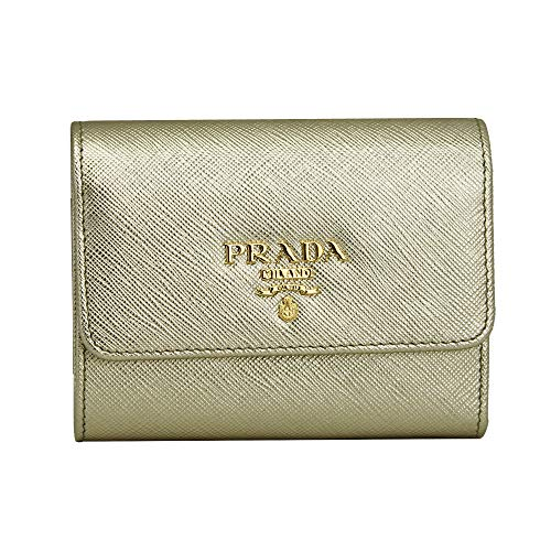 Prada Gold Saffiano Leather W/Metal logos Tri-fold Wallet
