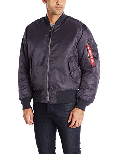 Alpha Industries Men's MA-1 Bomber Flight Jacket, Steel Blue, Large