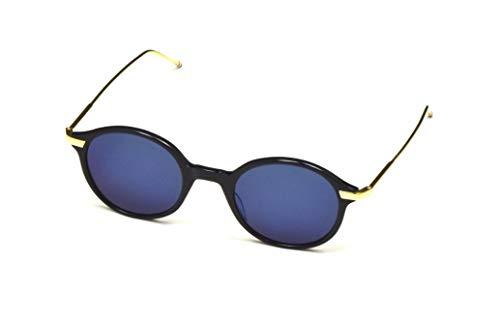 THOM BROWNE Sunglasses Navy-18K Gold/Dark Grey-Blue Mirror-AR 46mm