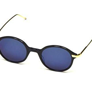 THOM BROWNE Sunglasses Navy-18K Gold/Dark Grey-Blue Mirror-AR 46mm