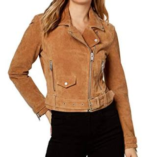 Marc New York Womens Suede Belted Moto Jacket Cognac L