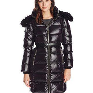 Andrew Marc Women's Down Coat with Leather Belt, Black, Medium