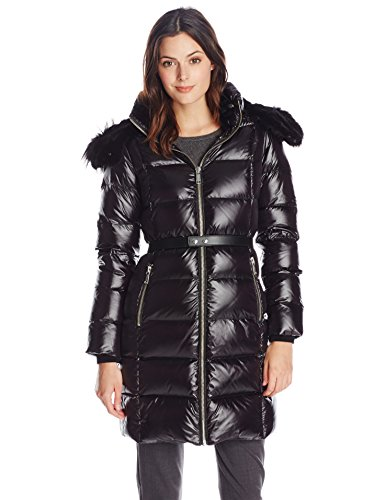 Andrew Marc Women's Down Coat with Leather Belt, Black, Medium