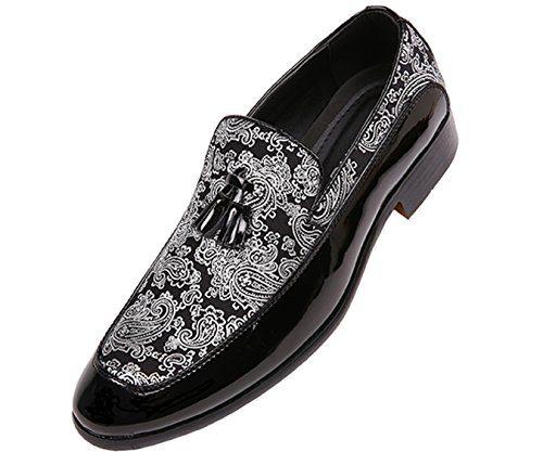 Bolano Mens Paisley and Patent Tuxedo Slipper Dress Shoe