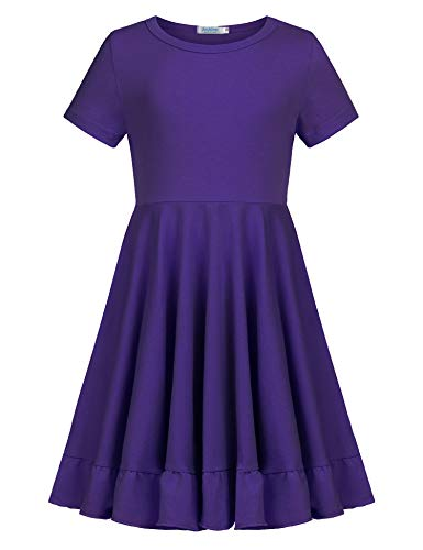 Arshiner Girls Dress Short Sleeve Cotton