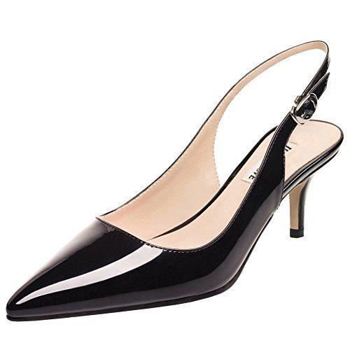 June in Love Women's Kitten Heels Pumps Pointy Toe Slingback Shoes