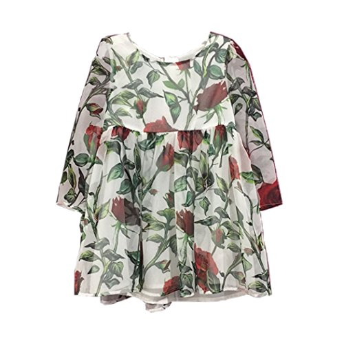 Arshiner Kids Round Neck Roses Floral Print A-Line Tullec