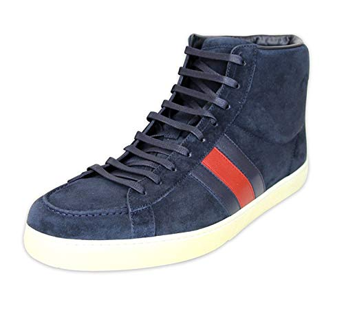 Gucci Men's Navy Suede BRB Leather Web Detail High top Sneakers