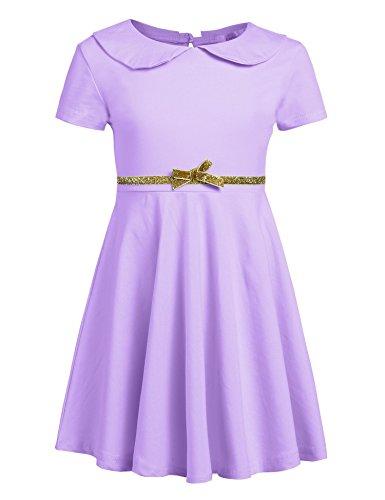 Arshiner Girls Short Sleeve Doll Collar Dress