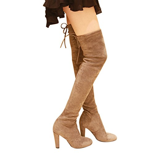 Kaitlyn Pan High Heel Grey Over The Knee Boots