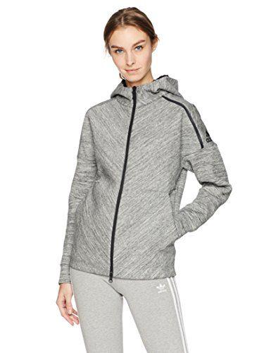 adidas Women's ZNE Road Trip Hoodie, Storm Heather, X-Large