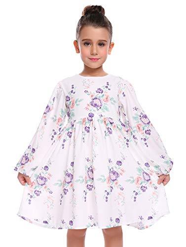 Arshiner Little Girls Dress Long Sleeve Floral Princess